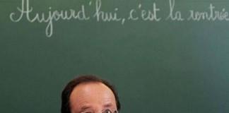 Photo prise le mardi 3 septembre lors de la visite d'une école par le Président Hollande.
