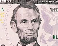 Portrait d'Abraham Lincoln sur un billet de 5 dollars