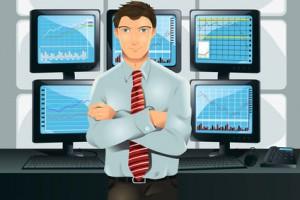 trader posant devant ses écrans de trading