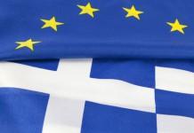 Drapeaux de la Grèce et de l'Union Européenne
