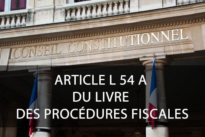 Article L 54 A du livre des procédures fiscales