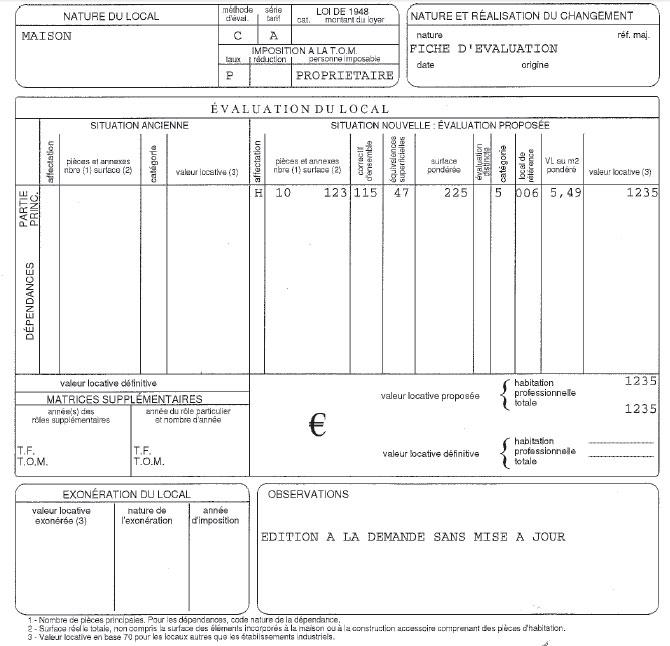 Fiche de calcul de l'avis de taxe foncière