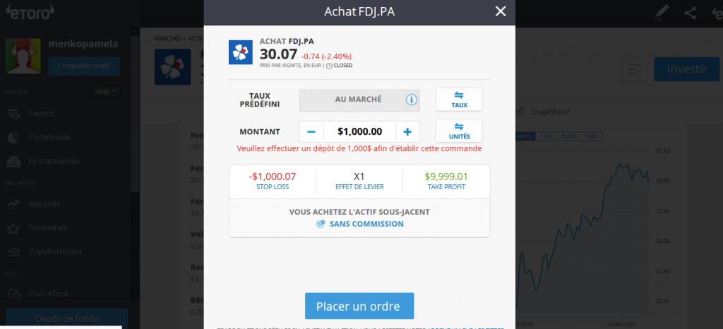 acheter l'action FDJ sur etoro
