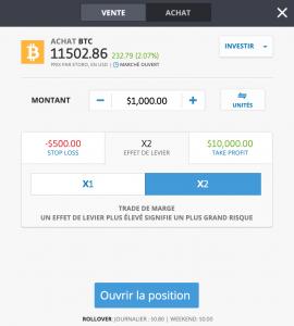 Etape 6: ouvrir une position de trading bitcoin CFD
