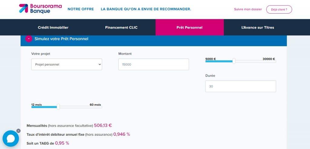 Boursorama Banque simulation prêt personnel