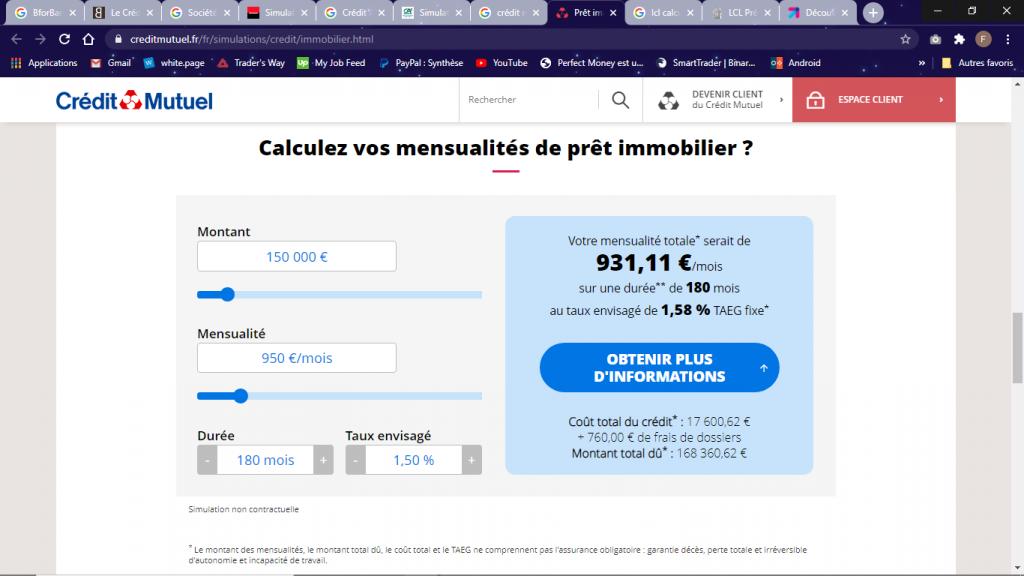 Credit Mutuel calculette simulation prêt immobilier