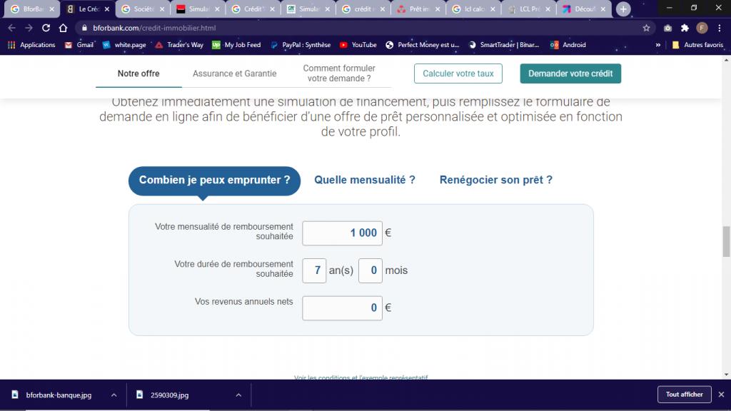 Bforbank calculette simulation prêt immobilier