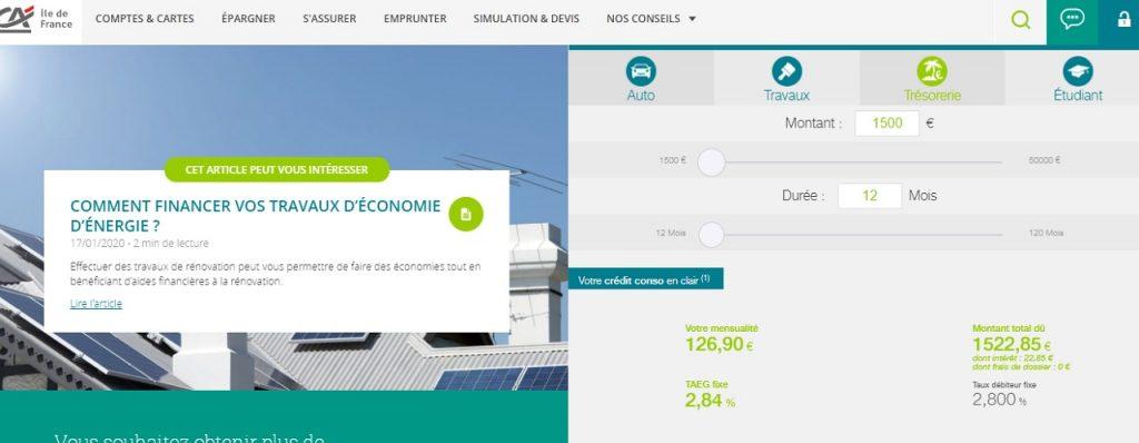 Crédit agricole simulation prêt personnel