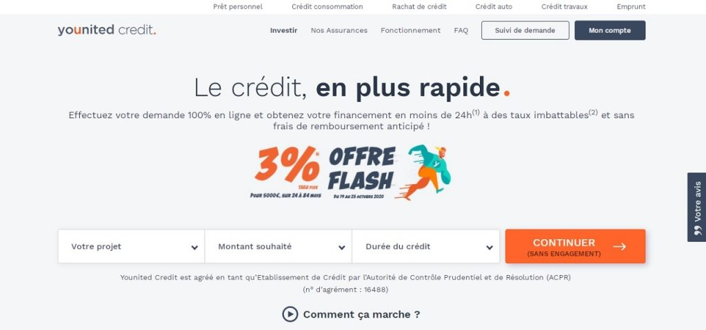Se rendre sur el site Younited Credit
