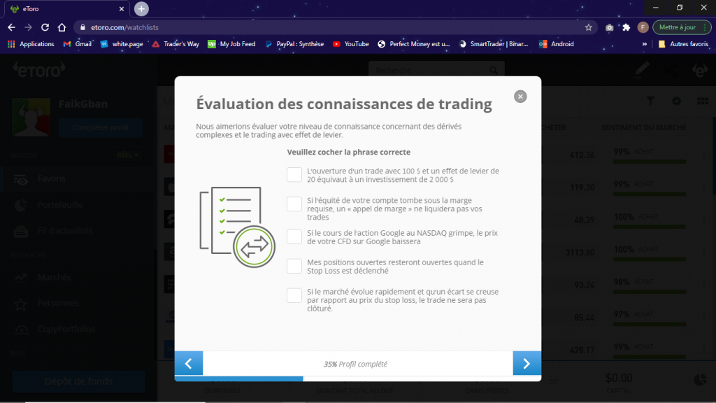 evaluation connaissance trading