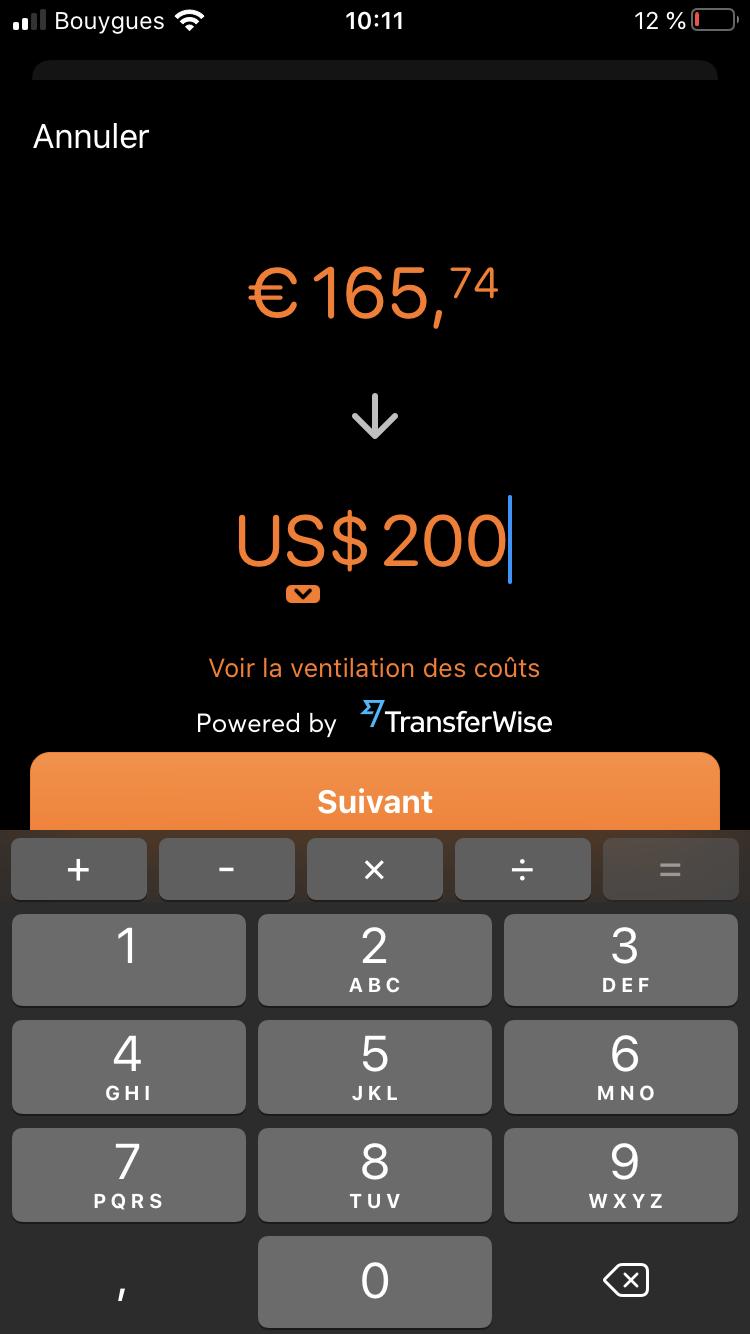 Etape 2 : Choisir le montant et la devise du virement
