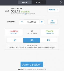 Etape 5 : Ouvrir une position de trading