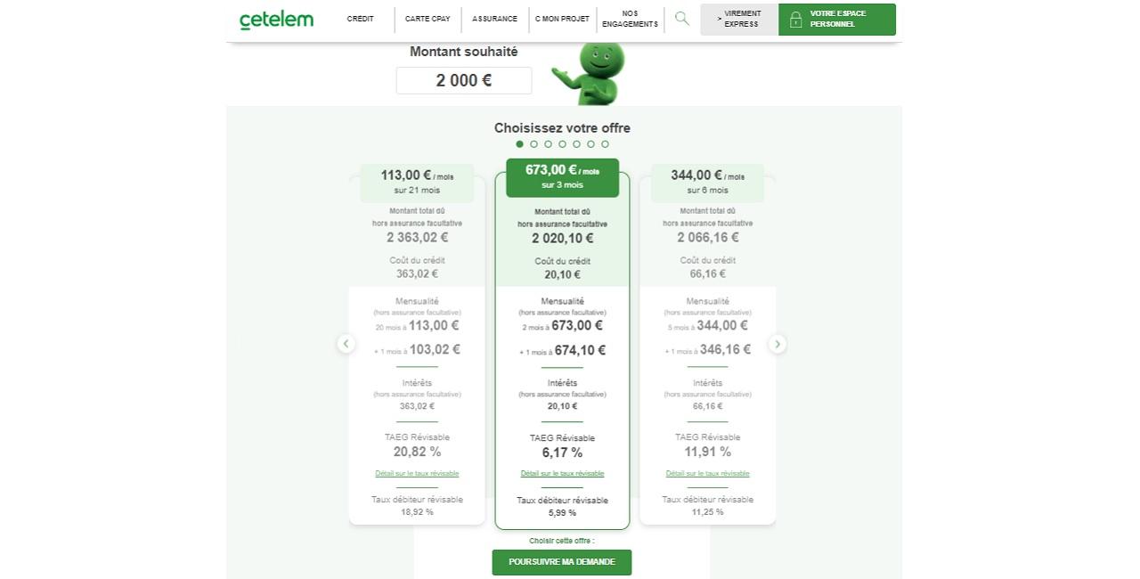 Crédit 2000 euros chez Cetelem