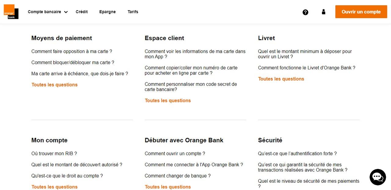 FAQ d'Orange Bank