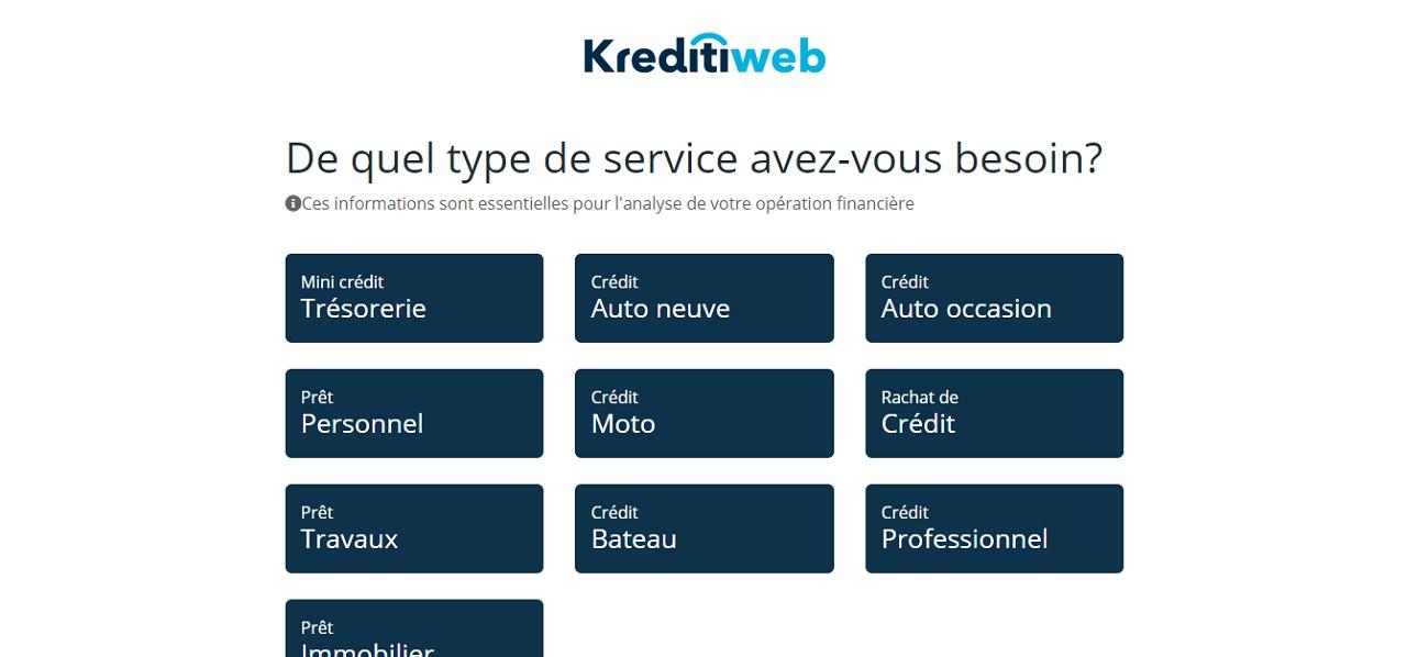 Les différents crédits chez Kreditiweb