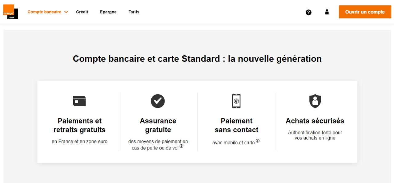 Compte bancaire avec carte standard