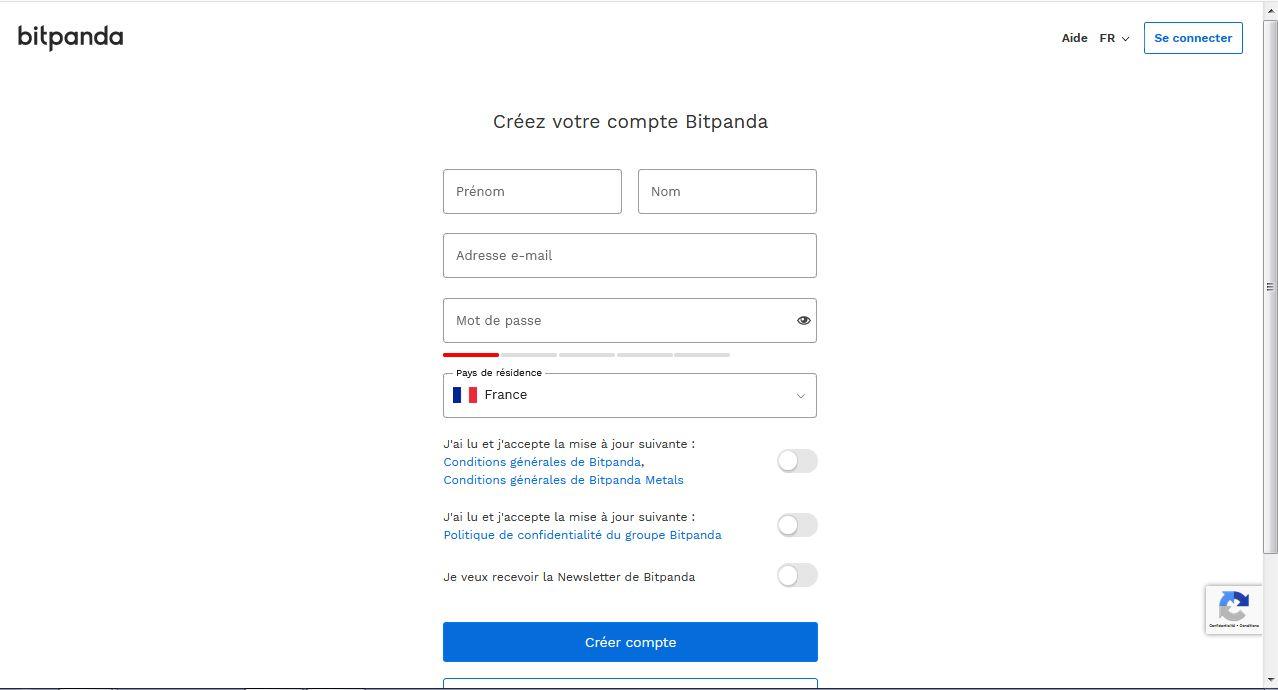 Ouvrir un compte BitPanda