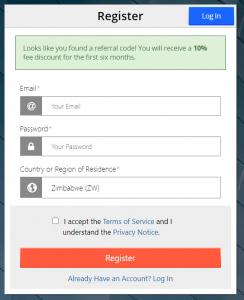 Page d'enregistrement BitMex