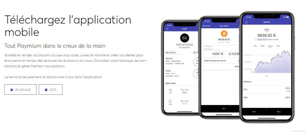 Paymium Application mobile