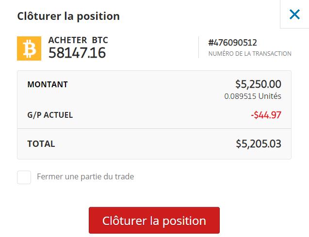Confirmation vente Bitcoin eToro