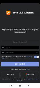 Application Bitcoin Libertex