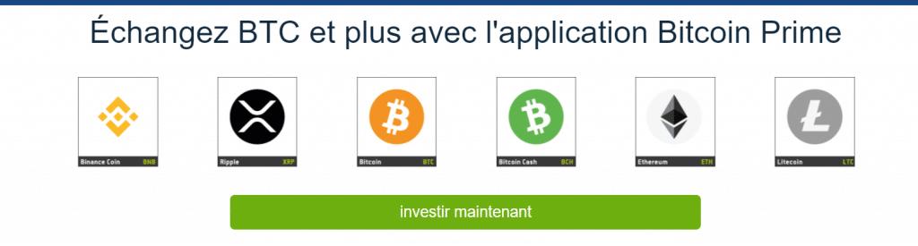 Crypto Monnaies prises en charge par Bitcoin Prime