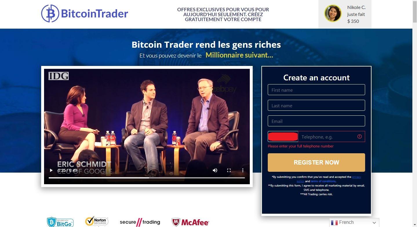Inscription sur Bitcoin Trader