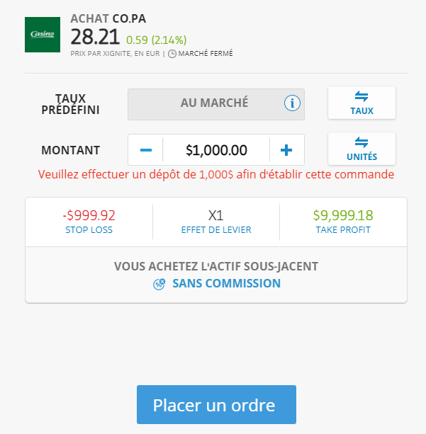 Acheter actions Casino