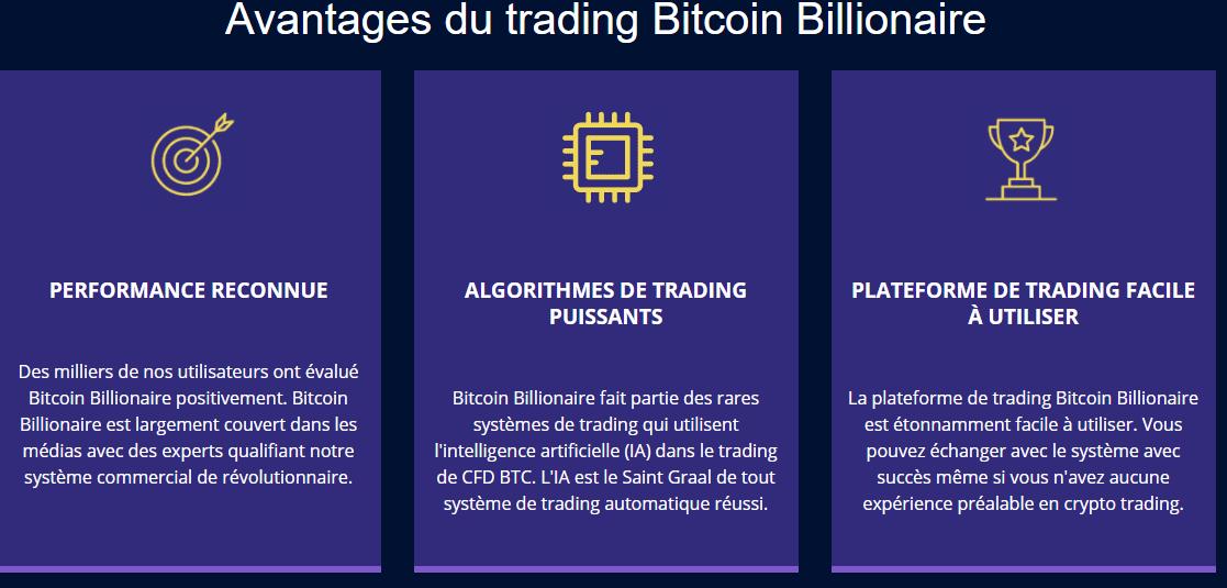 fonctionnalités Bitcoin Billionnaire